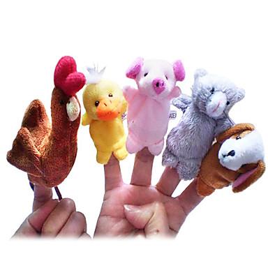voordelige Marionetten-Kip Eend Honden Vingerpoppetjes Poppen Schattig Noviteit Cartoon tekstiili Pluche Meisjes Speeltjes Geschenk 5 pcs