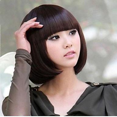 preiswerte Japanische Perücken-Synthetische Perücken Glatt Gerade Perücke Blond Schwarz Dunkelbraun Blondine Dunkelrot Synthetische Haare Damen Rot Schwarz Blond