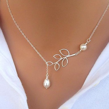 cheap Necklaces-Women's Pearl Pendant Necklace Y Necklace Lariat Leaf Ladies Basic Simple Style Fashion Pearl Imitation Pearl Alloy Silver Pearl Chain Necklace 1 Pearl Chain Necklace 2 Pearl Chain Necklace 3 Silver