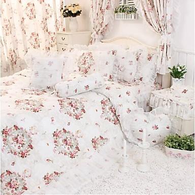 sengetøj blomster fadfay @ Koreansk Blomster strøelse hvide blonder flæser sengetøj  sengetøj blomster