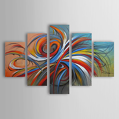 cheap Wall Art-Oil Paintings Modern Abstract Colorful Circles Hand-painted Canvas Five Panels Ready to Hang