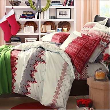 fadfaychristmas tree print duvet cover set western style adult plaid bedding sets 4pcs queen 2131250 2018 14139
