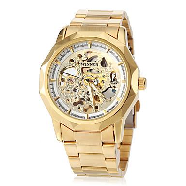 levne Pánské-WINNER Pánské Hodinky s lebkou Náramkové hodinky mechanické hodinky Automatické natahování Nerez Zlatá S dutým gravírováním Analogové Luxus Motýl - Bílá Černá