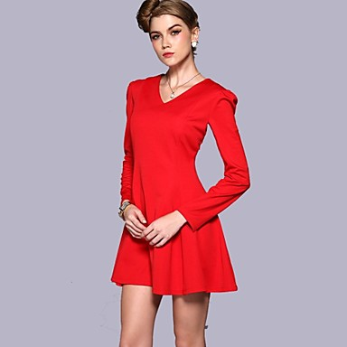 b1d1b7eb00a v шеи сплошной цвет длинный рукав красное платье женское 2232781 2019 –   50.89