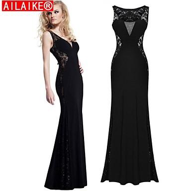 6c674b8ced3 [$58.00] ailaike® μαύρη δαντέλα φόρεμα μακρύ κόμμα σέξι vestidos γυναικών  maxi φορέματα ...