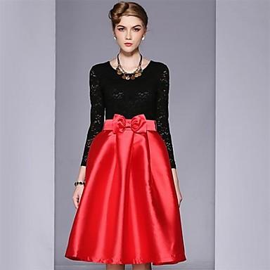 008141152b6d Vintage κόκκινο περιστασιακή φορέματα δαντέλα μακρύ μανίκι γυναικών 2305181  2019 –  47.99