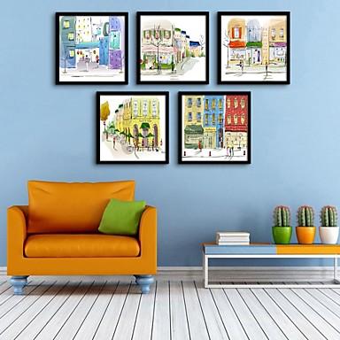 cheap Framed Arts-Framed Canvas Framed Set - Architecture PVC Illustration Wall Art