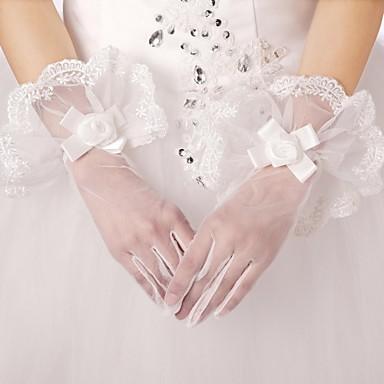 kézzel készített menyasszony kesztyű csipke élek virágos díszítéssel tüll menyasszonyi  kesztyű 2381186 2019 –  14.99 1114e13b30