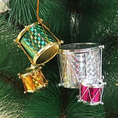 färgglad jul trumma jul dekoration julgransdekoration (6 st eller 12 st)
