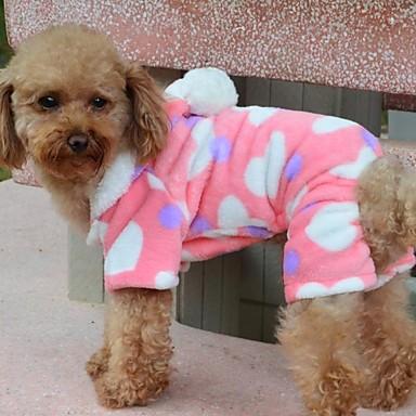 Hund Kappor Huvtröjor Pyjamas Vinter Hundkläder Andningsfunktion Kostym Polär Ull Cotton Hjärta S M L XL XXL