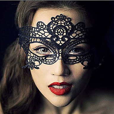 voordelige Maskers voor de feestdagen-Carnaval Masker Heren Halloween Festival / Feestdagen Kant Zwart Heren Dames Carnaval Kostuums Effen Kant