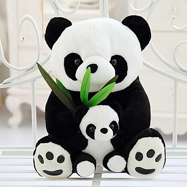 25cm mor och barn panda mjukis (svart&vit)