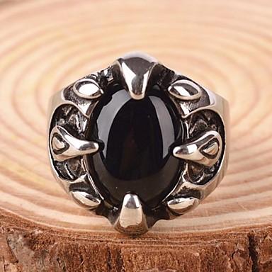 voordelige Herensieraden-Heren Statement Ring Ring Synthetische Sapphire Edelsteen Natuurlijk Zwart Synthetische Edelstenen Titanium Staal Legering Statement Gepersonaliseerde Vintage Sieraden