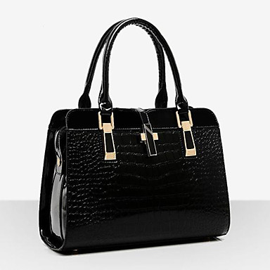 cheap Top Handles & Tote Bags-Women's Patent Leather Top Handle Bag Solid Colored Black / Wine / Blue
