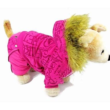 Katt Hund Kappor Vinter Hundkläder Ros Grå Kostym Cotton S M L XL