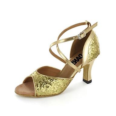 prodotti caldi scarpe eleganti marchi riconosciuti [$39.99] sandali da donna latino tacco a spillo scarpe da ballo paillette