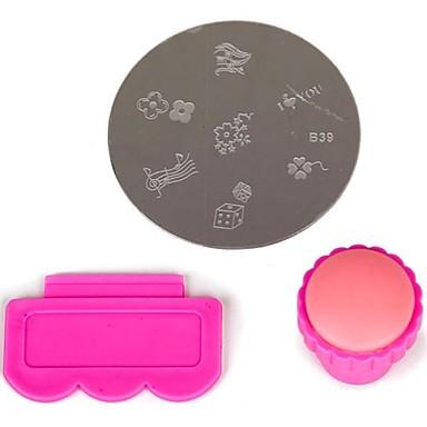 3 pcs Nail Art Kit Mall Vackert nagel konst manikyr Pedikyr Frukt / Blomma / Abstrakt Dagligen / Tecknat / Plast / Metall
