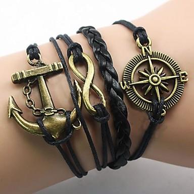 Herr Armband av Remmar Ankare Oändlighet damer Europeisk Inspirerande Tyg Armband Smycken Guld / Svart Till Julklappar Party Dagligen Casual Sport