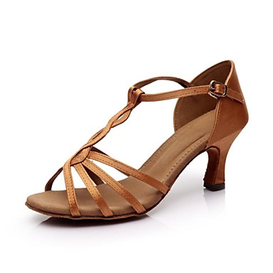 Women's Latin Shoes Satin Sandal Buckle / Ribbon Tie ...