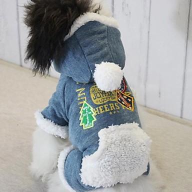Hund Kappor Vinter Hundkläder Blå Rosa Mörkblå Kostym Cotton