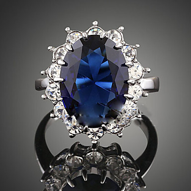 billige Statement Ringe-Dame Statement Ring Safir Krystall Syntetisk safir Mørkeblå Syntetiske Edelstener Kubisk Zirkonium Legering damer Mote flettet Bryllup Fest Smykker Solitaire Oval HALO Cocktail Ring