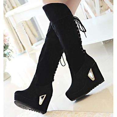 5cf2aa5df7b60 Femme Chaussures Faux Daim Hiver Printemps Automne Hauteur de semelle  compensée 30,48 à 35,56 cm Bottes Lacet pour Habillé Fauve Noir de 2390210  2018 à ...
