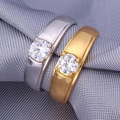 levne Dámské šperky-Dámské Band Ring Kubický zirkon Stříbrná Zlatá Zirkon Pokovená platina Pozlacené Módní Svatební Párty Šperky přátelství