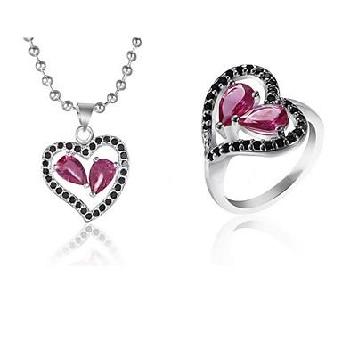 preiswerte Kristall Schmuck Sets-Retro/Niedlich/Party/Freizeit - Damen - Halsketten/Ringe (Silber/Aleación/Crystal)