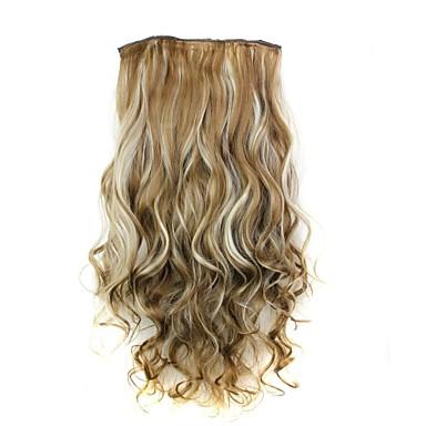 """levne Syntetické příčesky-Kudrny Klasický Umělé vlasy 22"""" Prodlužování vlasů Na připnutí Dámské Denní"""