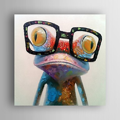 cheap Oil Paintings-Hand Painted Oil Painting Animal Pop Art Happy Frog With Glasses On Canvas Wall Art With Stretched Frame or Rolled Without Frame