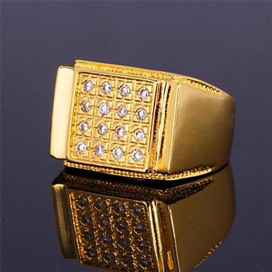 levne Pánské šperky-Pánské Band Ring prstenec Kubický zirkon Stříbrná Zlatá Zirkon Pokovená platina Pozlacené Geometric Shape Prohlášení dámy Přizpůsobeno Svatební Párty Šperky