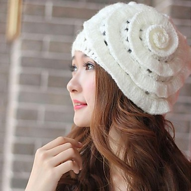dammode söta stickning blomma hatt