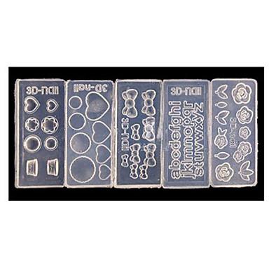 5 pcs Vackert Akrylfiber 3D Akrylform för Naglar Till finger nagel konst manikyr Pedikyr Dagligen Blomma / Tecknat / Mode
