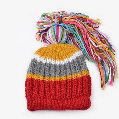 invierno de la manera del color de la raya de las mujeres de la cola de  caballo gruesa lana de punto sombrero 2432850 2019 –  26.24 0c2dd6ff110