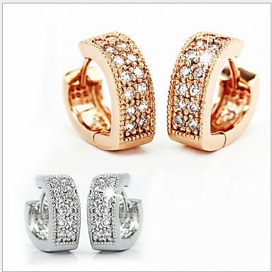 povoljno Modne naušnice-Žene Kubični Zirconia mali dijamant Sitne naušnice Srce Plastika Kubični Zirconia Naušnice Jewelry Pink / Zlatan Za Vjenčanje Party Dnevno