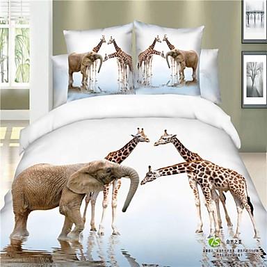sengetøj med dyr dynebetræk sæt, boligtekstiler delux home decor 100% bomuld 3d  sengetøj med dyr
