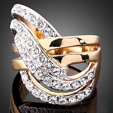 voordelige Herensieraden-Dames Statement Ring Kubieke Zirkonia kleine diamant Schermkleur Kubieke Zirkonia Verguld Gesimuleerde diamant Dames Ongewoon Luxe Bruiloft Feest Sieraden plaveien