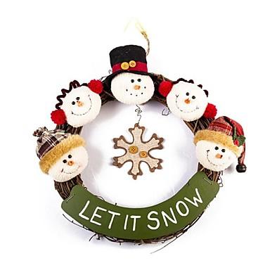 utsökta handgjorda jul snögubbe rotting ring dörren hängande jul dekorera krans