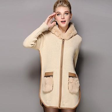 női téli szőrme gallér kapucnis kardigán pulóver kabát 2513121 2019 –   190.04 0404ab6683