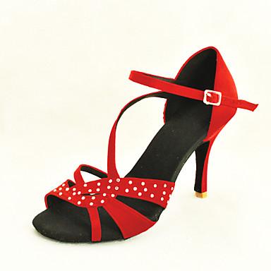 b06ad7c665b σατέν επάνω ιμάντα προσαρμοσμένη γυναικών αστράγαλο latin / ballroom  παπούτσια χορού με στρας (περισσότερα χρώματα) 572825 2019 – $42.99