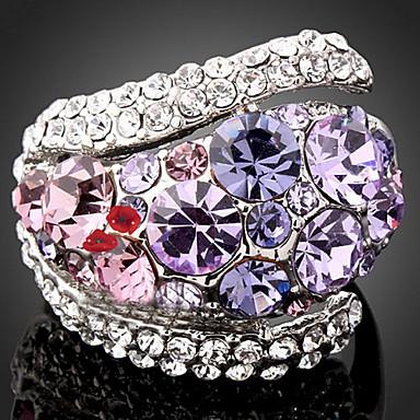 voordelige Herensieraden-Dames Statement Ring Kubieke Zirkonia Amethist Paars Groen Kubieke Zirkonia Gesimuleerde diamant Legering Dames Luxe Modieus Feest Sieraden plaveien