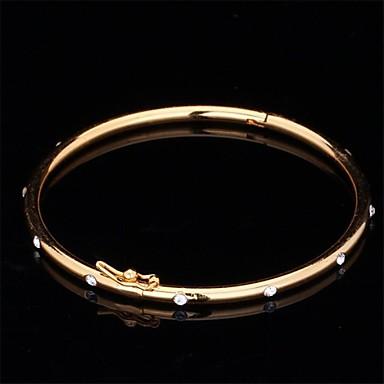 Syntetisk Diamant Armringar damer Vintage Fest Kontor Ledigt Bergkristall Armband Smycken Guld / Silver Till / Diamantimitation