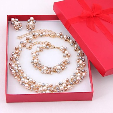 cheap Jewelry Sets-Women's Multicolor Pearl Jewelry Set Drop Earrings Bead Bracelet Ladies Elegant Bridal Pearl Rhinestone Gold Plated Earrings Jewelry Golden / White For Wedding Party Special Occasion Anniversary