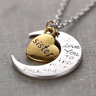 levne Dámské šperky-Dámské Náhrdelníky s přívěšky Monogram Ryté MOON Srdce láska Crescent Moon Miluji tě na měsíc a zpět dámy Přizpůsobeno Módní Slitina Zlatá / stříbrná Náhrdelníky Šperky 1ks Pro Dar Denní Ležérní