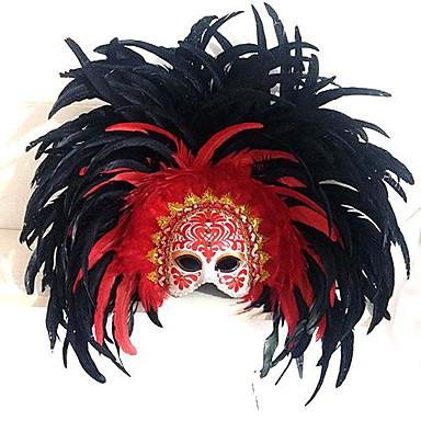 Fjäder Mask Carnival Mask Inspirerad av Venetian Halloween Karnival Dam