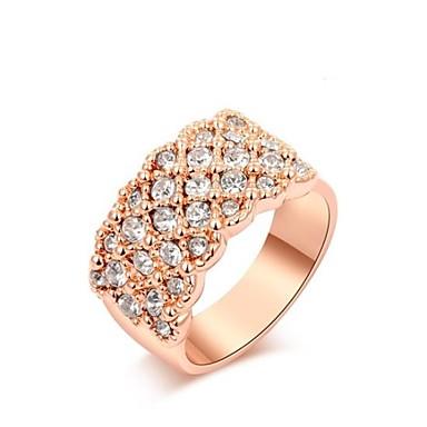 Dam Ring 1st Rosguld Rose Gold Cirkel Form Klassisk Party Fest / afton Smycken prinsessa