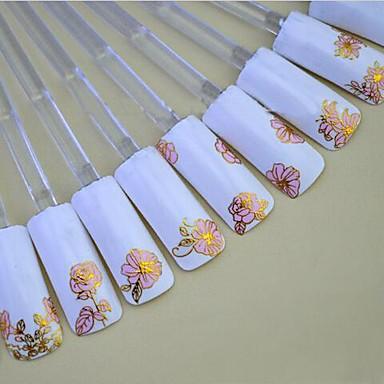 24pcs av blandade hot pink bakgrund gyllene spik klistermärke nail art nageldekorationer