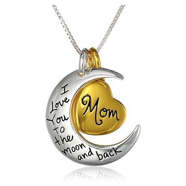 levne Dámské šperky-Dámské Náhrdelníky s přívěšky Ryté Matka dcera Srdce Crescent Moon Miluji tě na měsíc a zpět Magie Vztah Módní počáteční šperky Slitina Zlatá / bílá Náhrdelníky Šperky 1ks Pro Denní Ležérní