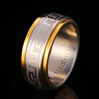 billige Båndringe-Dame Band Ring spinnring Groove Rings Kubisk Zirkonium Titan Rustfritt Stål Zirkonium Gullbelagt damer Dobbelt lag Bryllup Fest Smykker