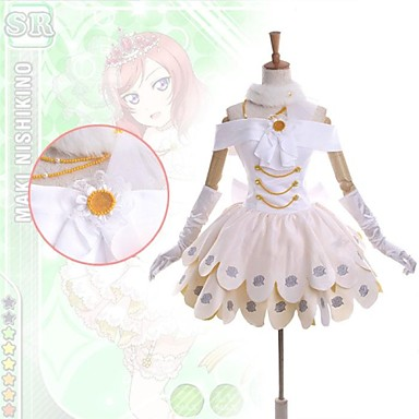 Inspirerad av Love Live Maki Nishikino Animé Cosplay-kostymer Japanska Klänningar Lappverk Ärmlös Klänning / Krage / Handskar Till Dam / Satin